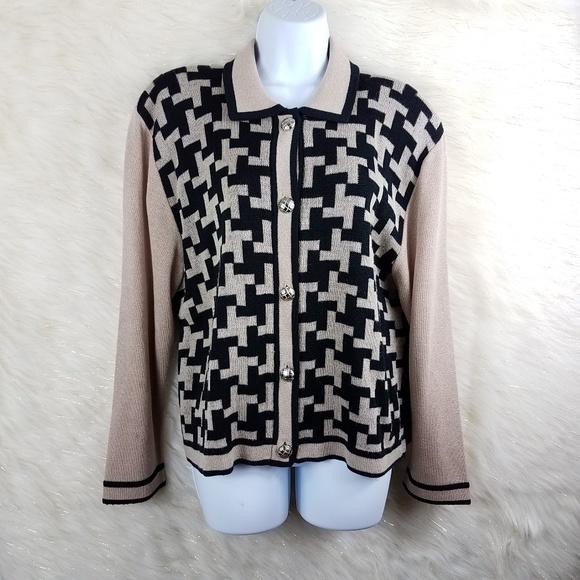 Dylani knitwear cardigan check print blk tan sz XL